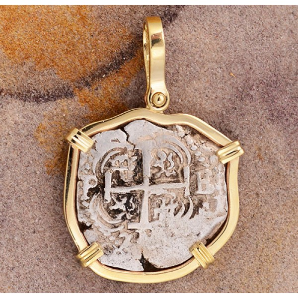 Authentic 2 Reales Treasure Cob Coin in Solid 14kt Gold Pendant Visible Date 1733